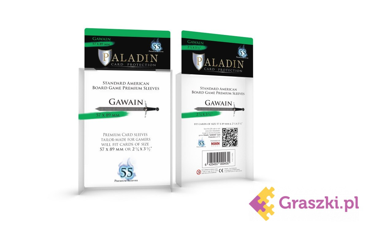 Koszulki na karty Gawain Premium Standard American (57x89), 55 sztuk | Paladin